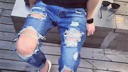 Moda-2015-nuovo-jeans-strappati-scarni-mens-personalit&agrave